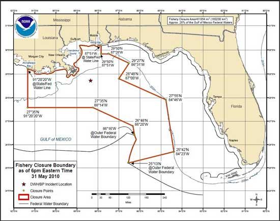áreas cerradas a la pesca en el Golfo de México