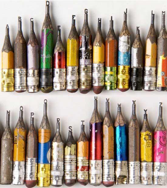 esculturas en mina lápiz, el alfabeto