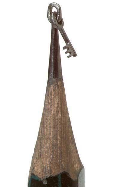 esculturas en mina de lápiz, llave