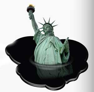 estatua de la Libertad bañada en petróleo