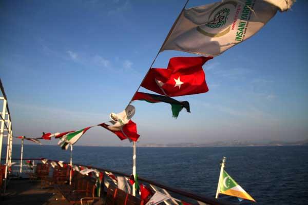 flotilla por libertad de Gaza banderas