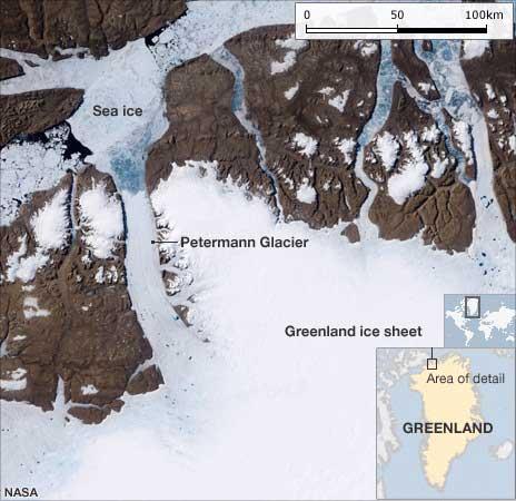 imagen satélite glaciar Petermann