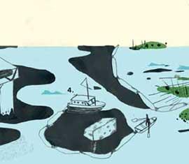 limpieza petróleo, recogida desde embarcaciones