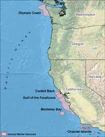 mapa Cordell Santuario marino