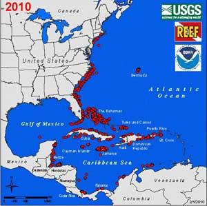 mapa distribución del pez león (Pterois volitans) mar Caribe