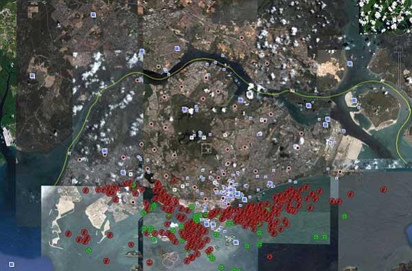 mapa satélite de vesseltracker