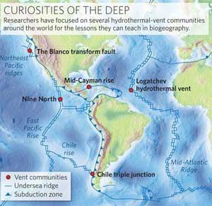 mapa ventilaciones hidrotermales océanicos
