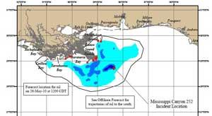 mapa del vertido del golfo de México 26-5-2010