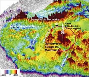 mapa montañas subglaciales Gamburtsev, Antártida