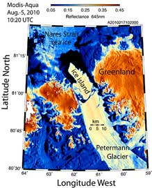 Glaciaar Petermann desde el satélite Aqua
