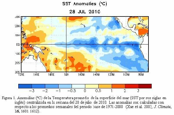 temperaturas Océano Pacífico, julio 2010