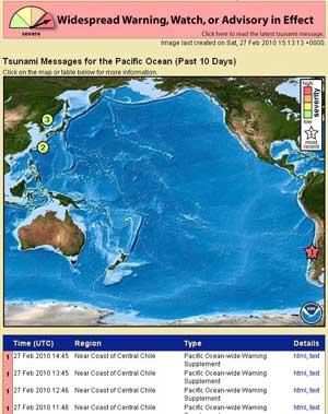 alerta tsunami Pacífico y Chile