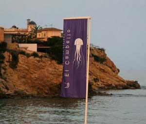 bandera de aviso de medusas en El Campello, Alicante