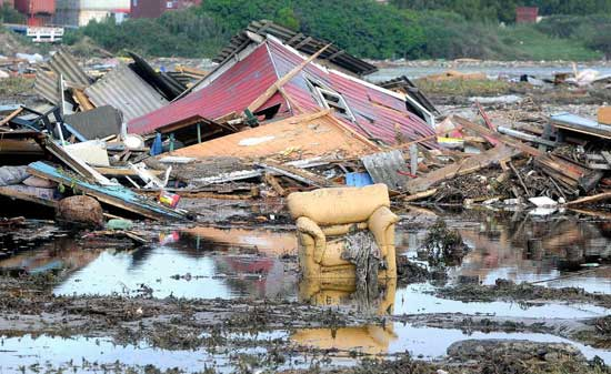 costa de Chile después del tsunami