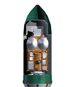 cryosat-2, interior del alojamiento en cohete