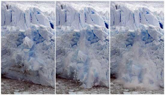 desprendimientos en un glaciar