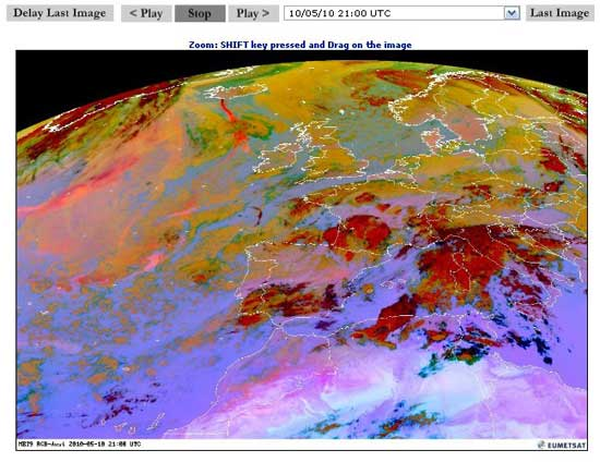 evolución nube de cenizas Eumesat