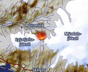 glaciar y volcán eyjafjallajkull