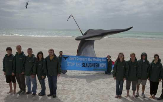 greenpeace estatua cola de ballena arponeada