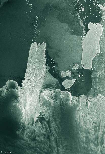 distancia del iceberg b-9b hasta el glaciar Mertz en diciembre 2007