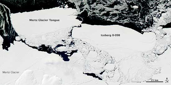 Icebergs glacial Mertz 26-02-2010