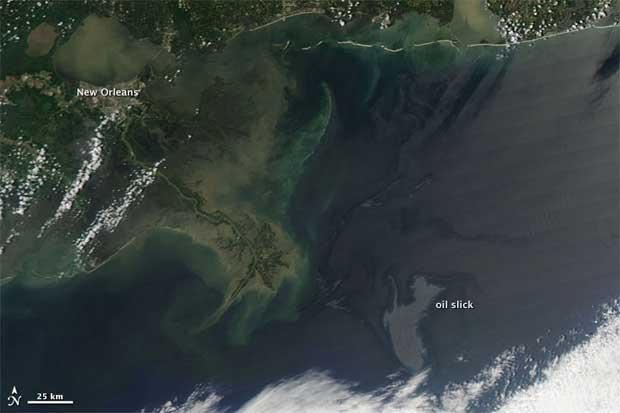 imagen NASA petróleo Golfo de México, 4 de mayo 2010