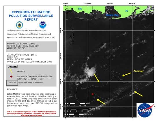 imagen satélite de la polución en el Golfo de México