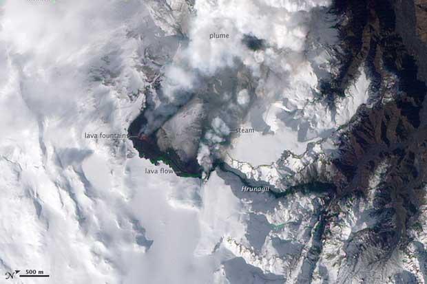 imagen satelite Terra erupción volcán Islandia, 24-03-2010