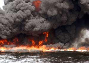 incendios controlados de petróleo Golfo de México