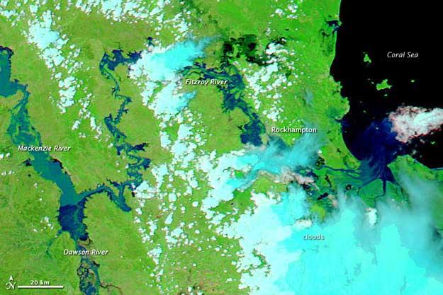 inundaciones cuenca río Fitz Roy, Australia enero 2011