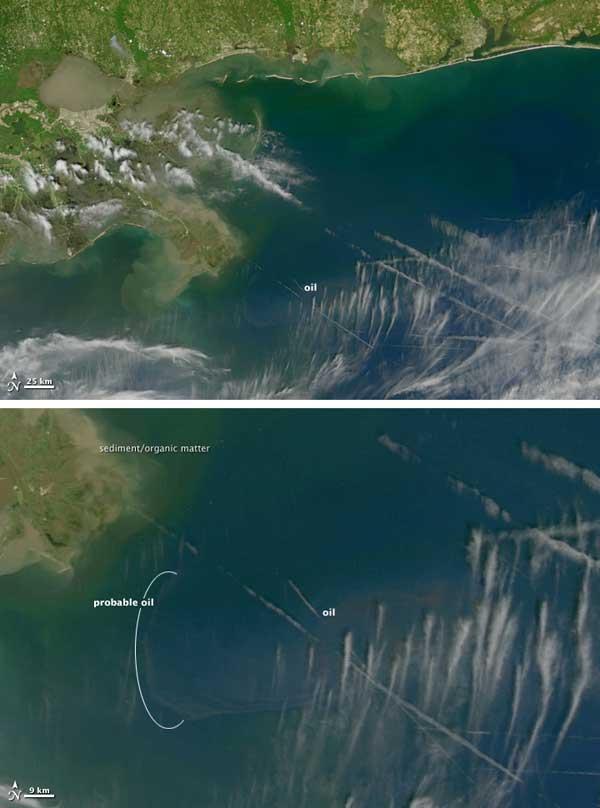 mancha petróleo Golfo México, NASA
