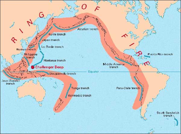 mapa del anillo de fuego del Pacífico