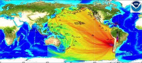 mapa con color en altura olas tsunami Pacífico febrero 2010