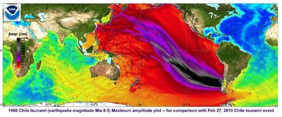 mapa con color de la altura olas terremoto 1960