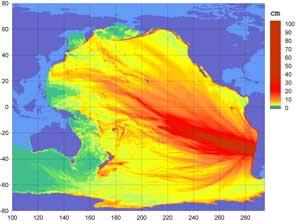 mapa desplazamiento tsunami Pacífico Febrero 2010