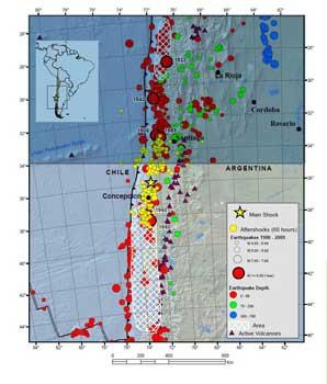 mapa histórico de terremotos en Chile