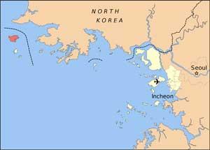 mapa isla de Baekryong, Corea