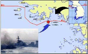 mapa línea límite del norte entre las dos coreas