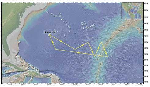 mapa localización del plástico en el océano Atlántico