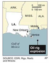 mapa localización plataforma en el Golfo de México