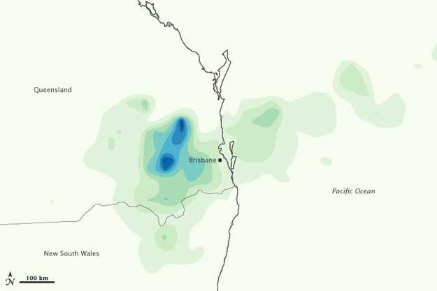 mapa precipitaciones Queensland, 10 enero 2011