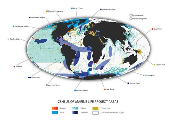 mapa de los proyectos del Census of Marine Life