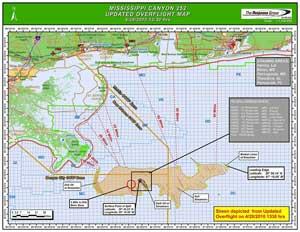 mapa de la superficie de la mancha de petróleo