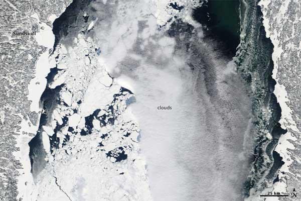 Mar Báltico congelado, Foto NASA