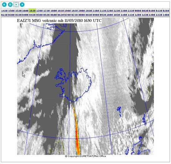 meteosat, imagen animada nube de cenizas