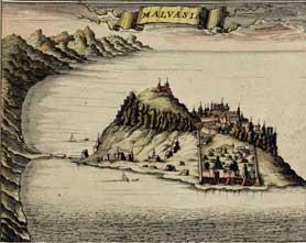 Monemvasia, grabado de 1687