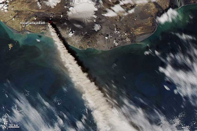 NASA, nube cenizas del volcán Eyjafjalla, 10-05-2010