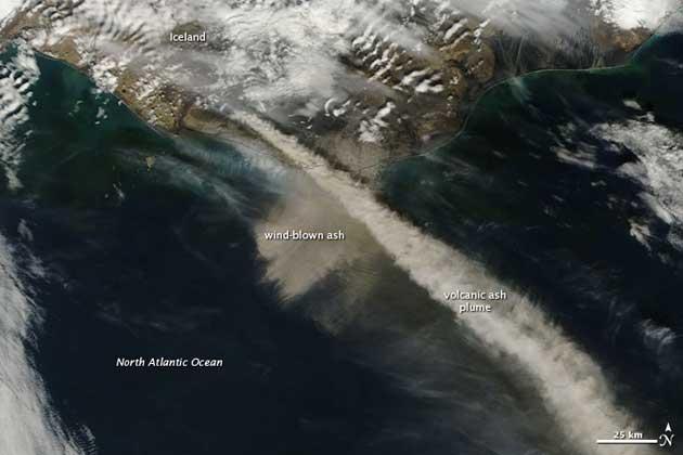 Imagen satélite NASA volcán Eyjafjalla, 7-05-2010