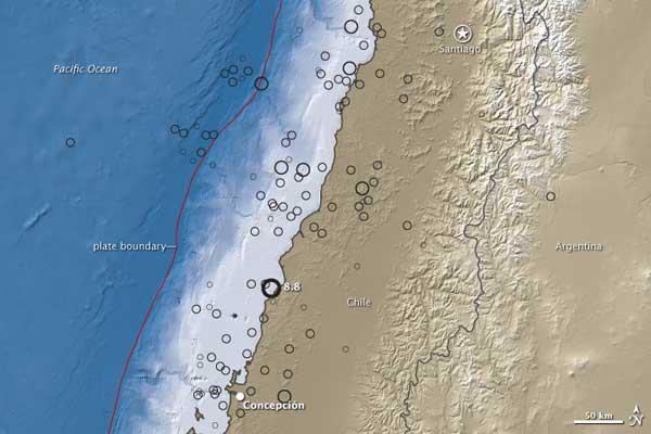 mapa NASA zona terremoto y tsunami en Chile