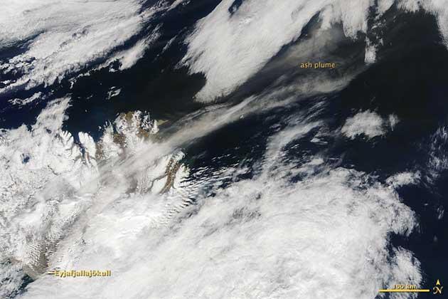 nube cenizas volcán Eyjafjalla, Islandia 17-05-2010